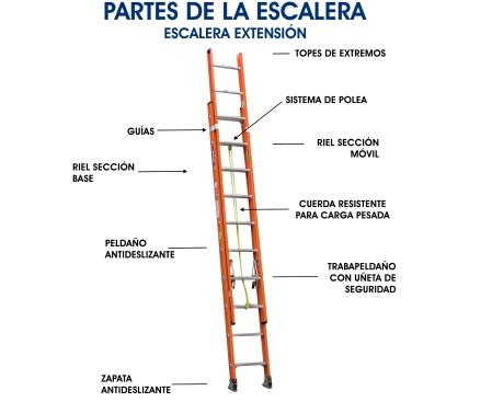 Partes de una Escalera de Extensión
